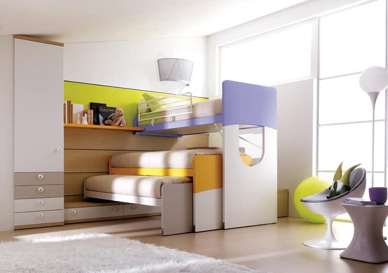 Kompakte und robuste Schlafzimmer für Kinder mit Etagenbett ... | {Kinder schlafzimmer 25}