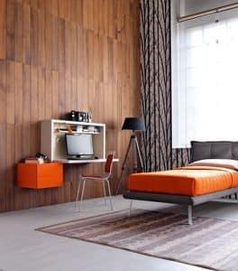 Comp. New 137, Kompakt Einzelzimmer, Schreibtisch mit Faltverdeck, Polsterbett