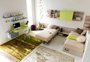 Comp. New 138, Üben Doppelzimmer für Kinder, mit Schreibtisch und Wandregal