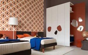 Comp. New 140, Komplette Schlafzimmermöbel für Kinder, mit Doppelbett, Kleiderschrank und Schreibtisch