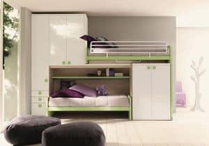 Comp. New 158, Platzspar Schlafzimmer, mit linearer Dachboden, mit zwei Betten und Doppel-Kleiderschrank