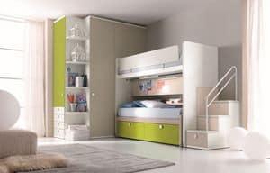 Comp. New 159, Schlafzimmer mit Etagenbett, Treppen mit Schubladen, Kleiderschrank