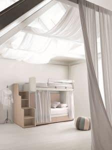 Comp. New 160, Etagenbetten ideal für kleine Schlafzimmer, mit platzsparenden Schubladen