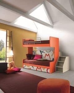Comp. New 161, Etagenbett mit drei Betten, Klappmechanismus, ideal für kleine Schlafzimmer