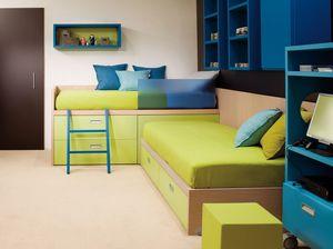 Compact 7006, Kinderzimmer mit Eckbetten, ausgestattet mit Schubladen