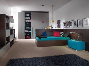 Compact 9006, Platzsparendes Schlafzimmer mit Schreibtisch, der in ein Bett verwandelt werden kann