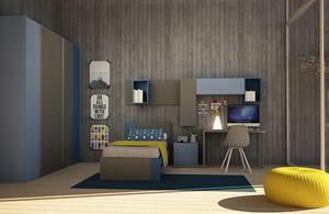 Cool comp.06, Modernes Kinderschlafzimmer mit Einzelbett