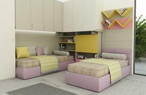 Cool comp.08, Buntes Kinderschlafzimmer, mit Klappschreibtisch