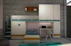 Cool comp.18, Kid Schlafzimmer mit Hochbett und Brücke Kleiderschrank