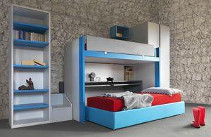 Cool comp.20, Kinderwohnzimmermöbel mit verschiebbarem Etagenbett und Schreibtisch