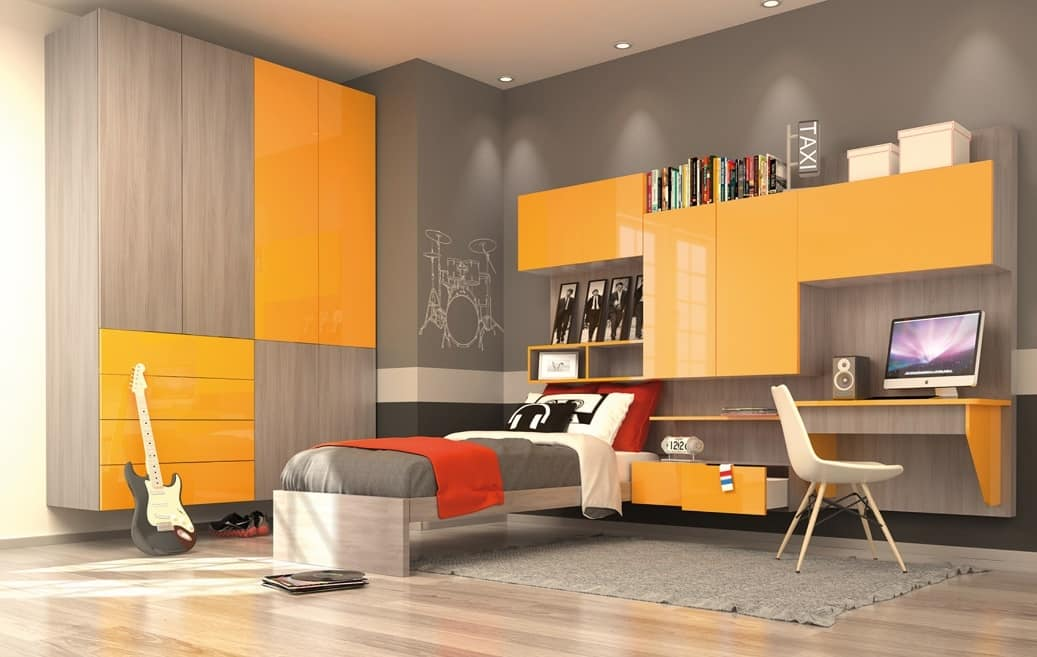 moderne kind schlafzimmer mit wandschrank gelb und ulme finish idfdesign. Black Bedroom Furniture Sets. Home Design Ideas