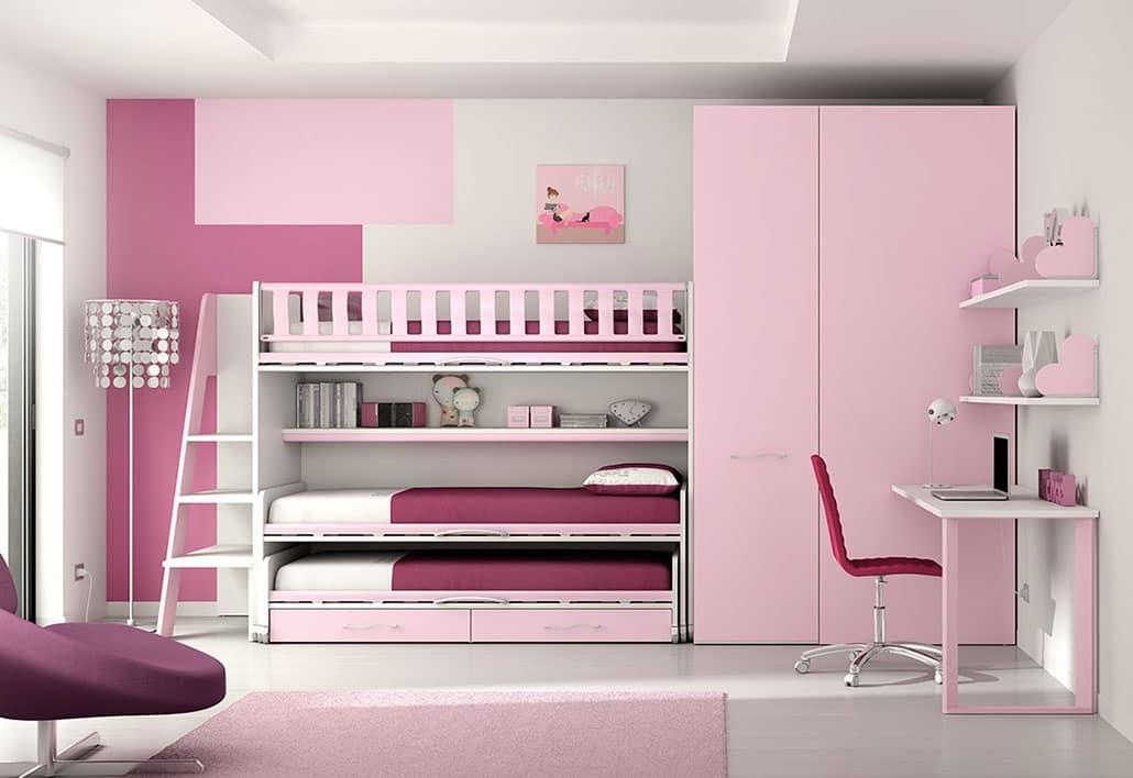 Etagenbett Drei Betten : Kinderschlafzimmer mit hochbett betten und regalen idfdesign