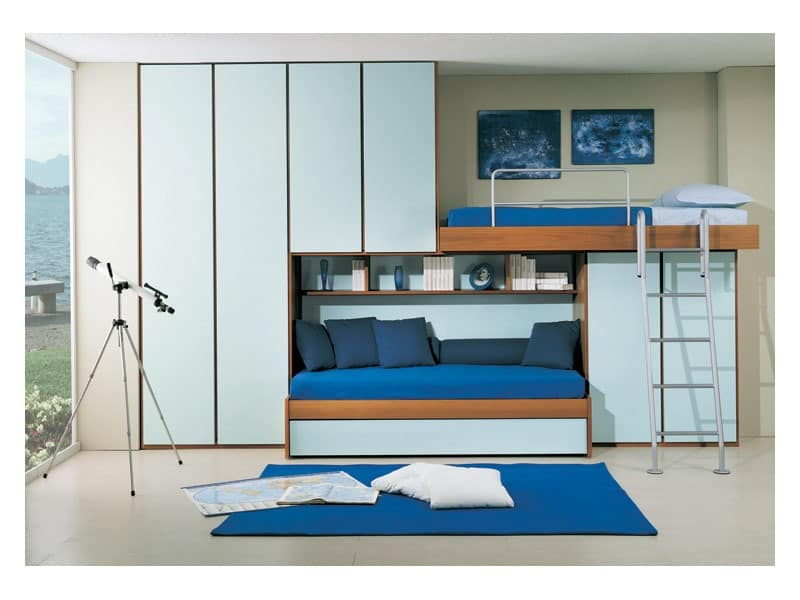 schlafzimmer mit ausziehbarem zweiten bett br cke kleiderschrank hellblaue farbe idfdesign. Black Bedroom Furniture Sets. Home Design Ideas