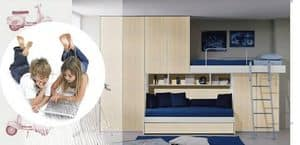 kid schlafzimmer mit doppelbett im etagenstruktur enthalten schreibtisch gr n und orange. Black Bedroom Furniture Sets. Home Design Ideas