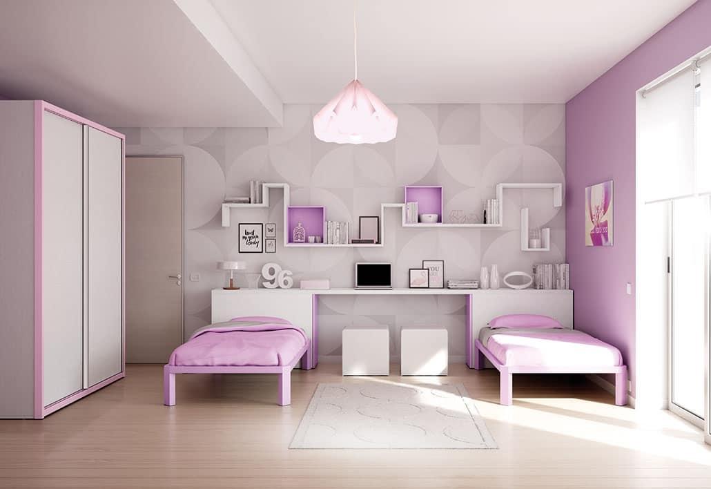 Farbige Kinderzimmer Schlafzimmer, anpassbar, mit Regalen | IDFdesign