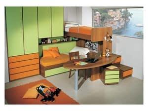 Kinderzimmer 3, Kid Schlafzimmer mit Doppelbett, im Etagenstruktur enthalten Schreibtisch, grün und orange Finish