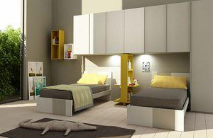 Natural comp.09, Kid Schlafzimmer mit Brücke Kleiderschrank, für zwei Betten