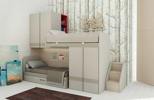 Natural comp.19, Platzsparendes Schlafzimmer mit Etagenbetten