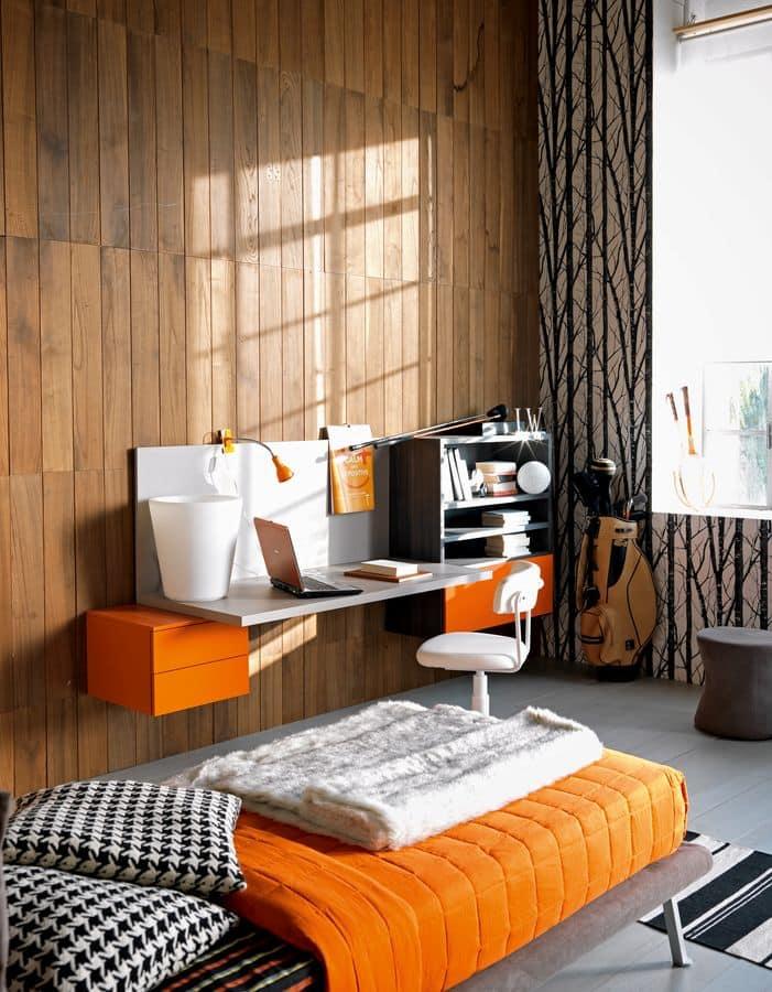 schlafzimmer f r kinder mit gepolsterten bett und schreibtisch idfdesign. Black Bedroom Furniture Sets. Home Design Ideas