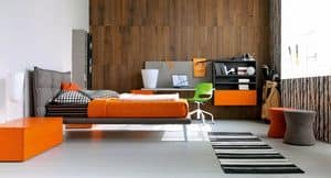 Comp. New 135, Schlafzimmer für Kinder mit gepolsterten Bett und Schreibtisch