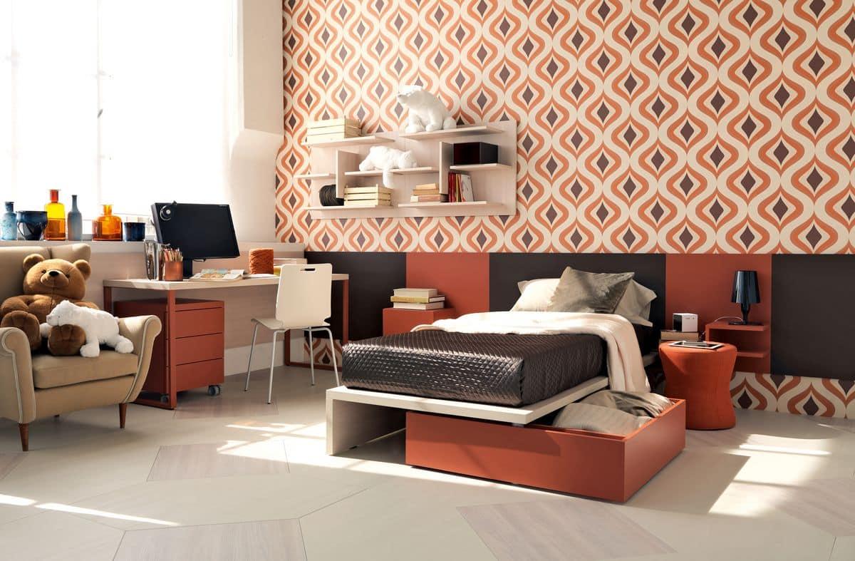 modernes schlafzimmer mit schreibtisch und b cherschr nke idfdesign. Black Bedroom Furniture Sets. Home Design Ideas