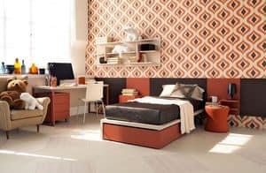 Comp. New 139, Modernes Schlafzimmer mit Schreibtisch und Bücherschränke