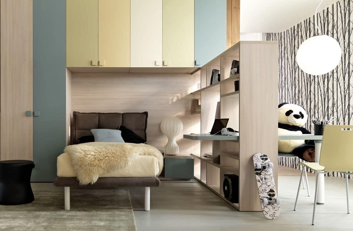 platzsparend kinderschlafzimmer mit eingebauten br cke kleiderschrank polsterbett und. Black Bedroom Furniture Sets. Home Design Ideas