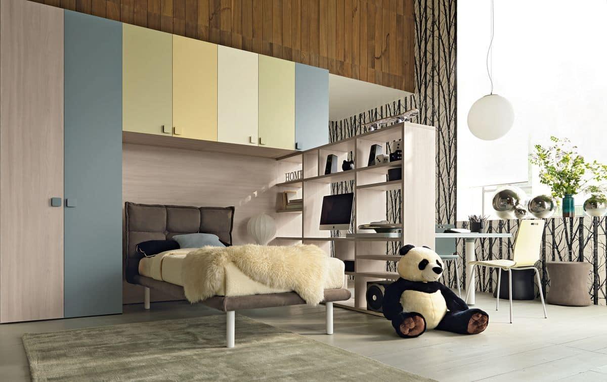New 141, Platzsparend Kinderschlafzimmer Mit Eingebauten Brücke  Kleiderschrank, Polsterbett Und Schreibtisch Bücherschrank