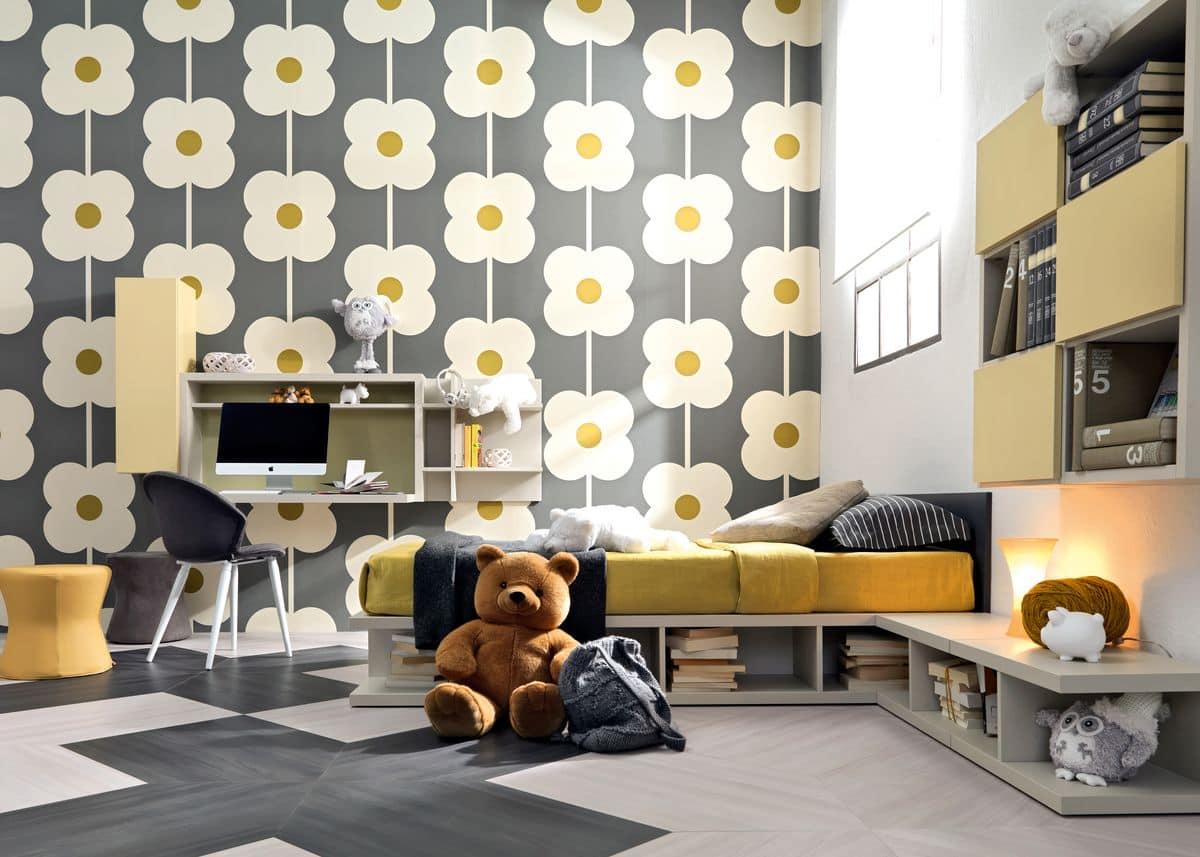 einzel kid schlafzimmer mit bett schreibtisch b cherregal und sitzpl tze idfdesign. Black Bedroom Furniture Sets. Home Design Ideas