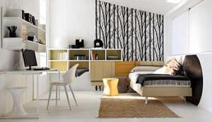 Comp. New 145, Möblierung Schlafzimmer für Jungen, mit Schreibtisch