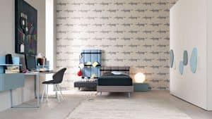 Comp. New 146, Moderne Kinderschlafzimmer mit Schreibtisch und Einzelbett