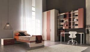 Comp. New 150, Moderne Zimmer für Kinder, mit Schränken und Wandschränke