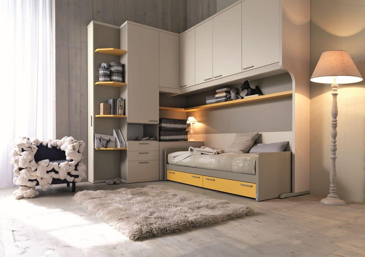 Moderne Zimmer für Kinder, mit Raumspartüren | IDFdesign