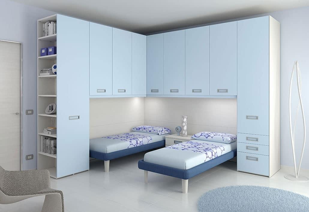 Schlafzimmer für Kinder, mit 2 Betten und integrierter Beleuchtung ...