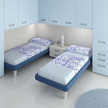 schlafzimmer f r kinder mit 2 betten und integrierter beleuchtung idfdesign. Black Bedroom Furniture Sets. Home Design Ideas