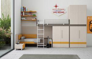 Warm comp.14, Lineares Kinderzimmer mit einem Hochbett