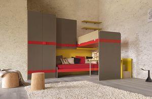 Warm comp.22, Kid Schlafzimmer mit Treppe mit einem Container ausgestattet