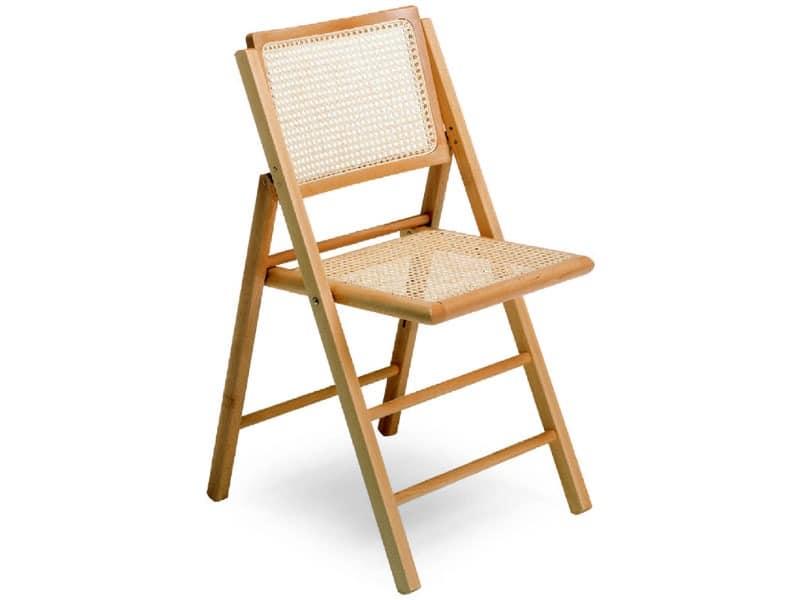105, Stuhl mit Struktur falten, in Buchenholz und Rohr
