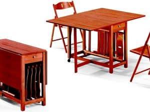 Fred table, 189EVF chair, Klapptisch, mit Platz für Stühle, platzsparend
