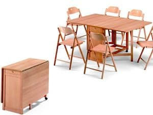 Ginger table, Stoppino chair, Platzsparende Tabelle, faltbar, aus Buchenholz