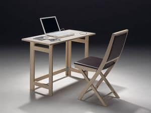 Tavolo P rectangular, Verstaubare Tisch, erhältlich in verschiedenen Holzdekoren