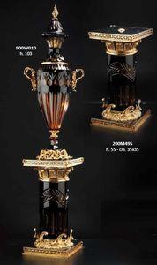 SPALTEN UND PEDESTALS, Dekorative Säulen aus Kristall und Bronze