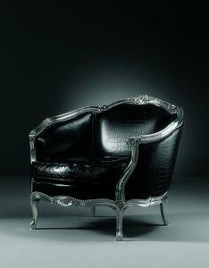 105/A Narciso, Geschnitzter Sessel mit Lederbezug