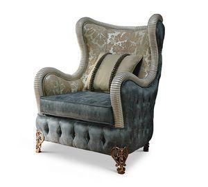 1767/A, Bergère-Sessel aus Stoff für klassisches Wohnzimmer