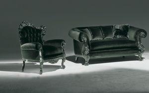 Stradivari black, Sessel mit geknöpft Rückenlehne für elegantes Wohnzimmer