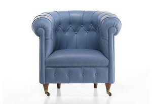 725, Sessel im klassischen Stil, mit Leder bezogen, mit Rollen