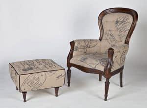Art. 581, Sessel aus Holz und Jute im klassischen Stil