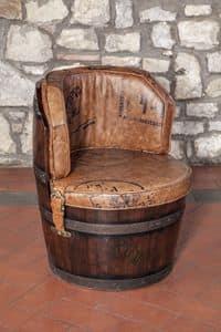 Art. CT 629, Barrel-Form Sessel aus Leder, gepolstert