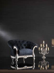 ATENA Sessel 8413A, Raffinierte Stuhl, original Basis in geschnitzt Buche