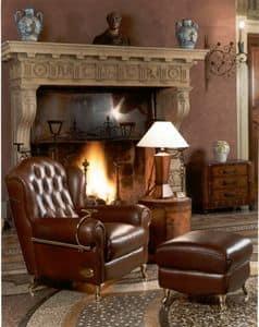 Cigar Chair, Klassischen Stil Sessel, mit gesteppten Lederzurichtung